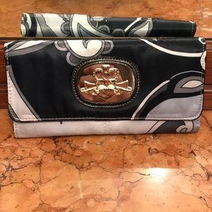 Kathy Van Zeeland Black grey & silver wallet